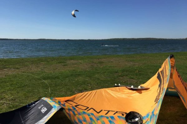 Kiteboard out in the water at Waconia Regional Park in Minnesota