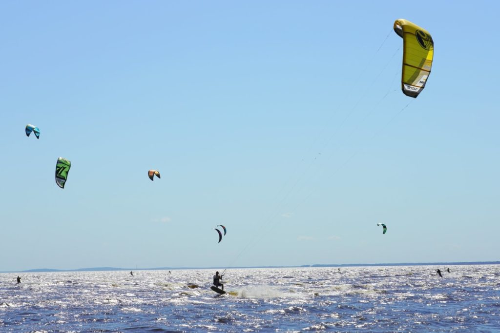 Several kiteboarders on a lake during a sunny day