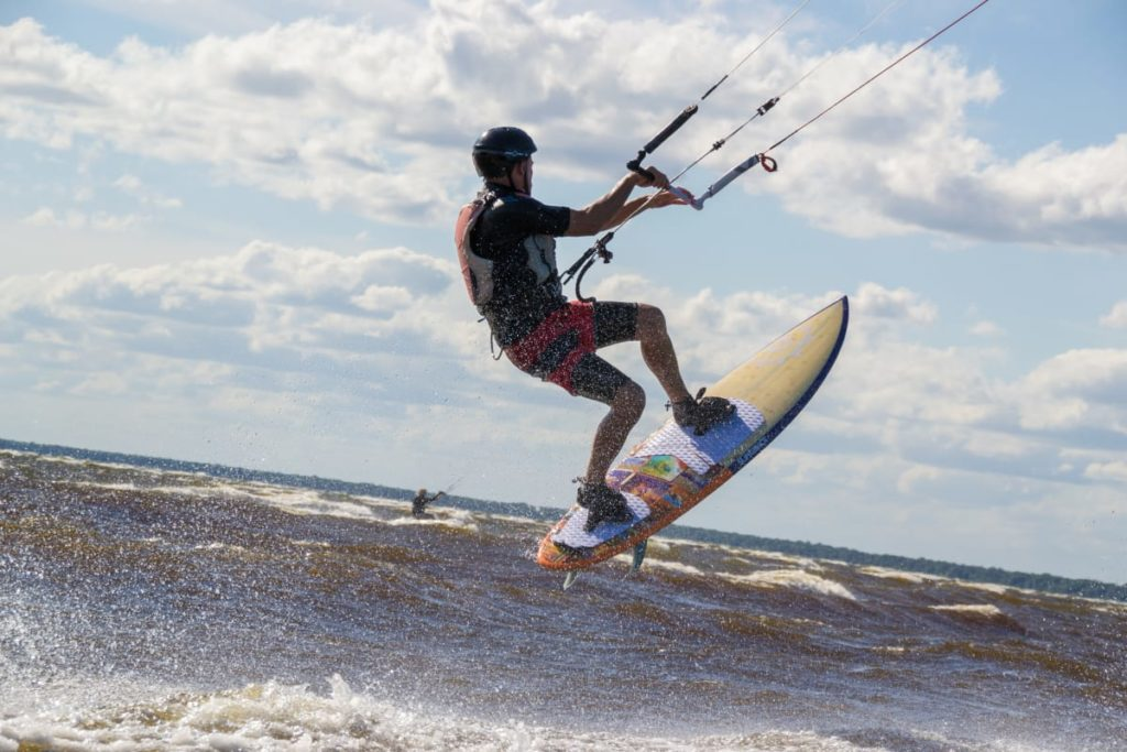 Kiteboarder pops off a wave at Malmo MN