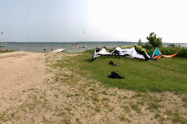 Kiteboarding kites sitting at Lake Miltona