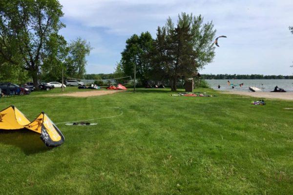 Kiteboarders launching at Lake Washington in Minnesota