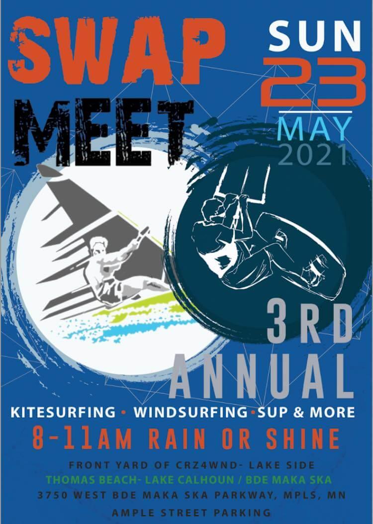 3rd Annual Minnesota kiteboard, windsurf, and SUP swap meet flyer.